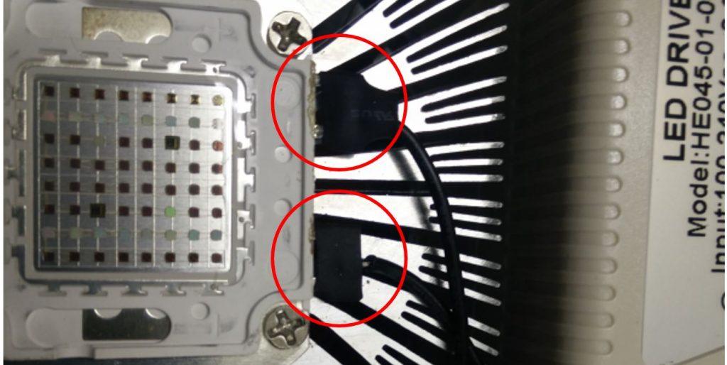 Schlechte Kabelverbindungen innerhalb einer kommerziellen COB LED Leuchte